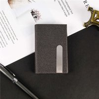 Cigarette case Gift cigarette Pu pickup case stainless steel leather business name card holder