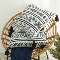 Cushion Decorative Pillow Moroccan Geometric Jacquard Tassel Pillowcase Chenille Cushion Cover For Sofa Case 45x45cm Coussin