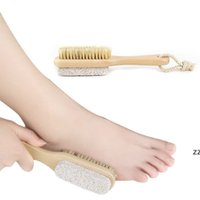 Neue 2 in 1 Reinigungsbürsten Natürlicher Körper oder Fuß Peeling SPA Pinsel doppelten Seite mit Natur Bimsstein Stein Weiche Borste Hwd9910