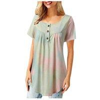 Женские блузки Рубашки Feitong Vintage Женщины 2021 Плюс Размер Летний Большой Свободные Галстуки Монограмма Блуза