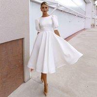 Simple Soft Satin Boho Wedding Dress 2021 A Line Knee Length Open Back Short Beach Bride Dresses With Puff Sleeve Modern Vestidos Novia Robes De Mariage