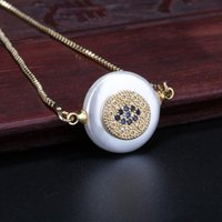 5pcs lot gold mix cz paved round coin disc evil eye protection charm pearl beads connector dainty link woman bracelet