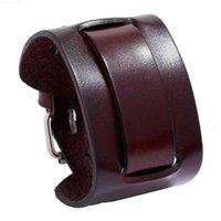 Material Layer Bangle Black Genuine Leather Wide Punk Men Wrap Watch Bracelet Geometric Cuff Jewelry Pulsera Hombre