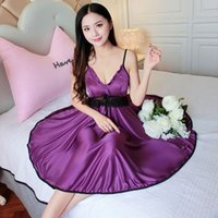 Mulheres Lace Ice Silk Night Dress Sexy Sleepwear Verão Sling Nightdress Feminino Lingerie J9Qs #