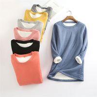Зима плюс бархат с длинным рукавом рубашка женщины теплые толстые футболки старинные уличные изделия CamiSeta Feminina Slim дамы Tops Tshirt Q896 210331