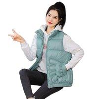 Women's Down & Parkas Women Autumn Winter Short Sleeveless Stand Collar Hand Pocket Vest Coat Warm Outwear Puffer Jacket Cotton Padded