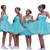 2022 Aqua Blue Tulle Short Wedding Guest Dresses Bridesmaids Dress Strapless Lace Plus Size Prom Party Evening Gowns