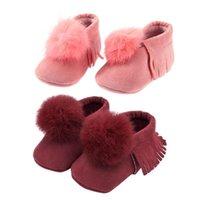 Primeiros caminhantes Jocestyle Outono Estilo de Inverno Bebê Sapatos Bola Borla Soft Infant Criança Gota