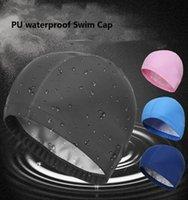 Взрослые PU плавание шапки купальники шляпы мужчины женщин водонепроницаемая высокая упругая упругательная защита от ушной защиты головы длинные волосы купальника