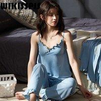 Wikisspjs verano algodón algodón pijamas pantalones de mujer pantalones traje en el hogar pijamas ocasional ropa leonada loungewear q0706