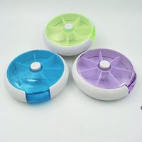 Aufbewahrungsboxen Runde Sieben Gitter pro Woche Rotieren Kombinierter Pill Box Medizin Klassifizierung Tragbare 7 Gitter Kunststoff HWB6784