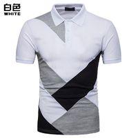 Chemise Patchwork Chemise à manches courtes Hommes Trois Couleurs Couture Top Casual Vapel Confortable Tolos Homme