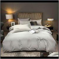 Espesano LOKA Juego de ropa de cama de algodón Golden Conjuntos bordados Bordados Soft Duvet Funda Lijado Plano plano / ajustado Hoja de cama Pillowcases AE4VU UPPZ