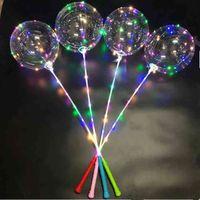 Flashing Light LED Bobo Ball Flash Balloons Star Unicorn Heart Love Xmas Tree Shape Transparent Clear Wedding Party Balloon With Stick Handle Decor LY6803