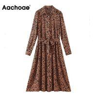 Casual Dresses Aachoae Fashion Leopard Print Dress Women Turn Down Collar Office Ladies Shirt Vintage A-line Long Sleeve Sashes