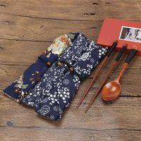 Chopsticks Portable Wooden Spoon Tableware Set Vintage + Blue Bag Kitchen Accessories 1202