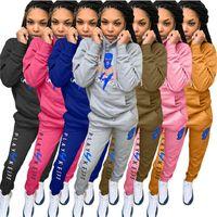 Women's Tracksuits Sweatsuit Two Piece Set Women Outfit Hoodie Pocket Top Sweatpants Sport Suit Joggers Matching Wholesale Drop 2021