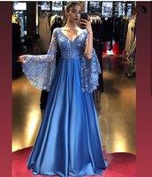 Royal Blue вечернее платье 2021 длинные вспышки рукава A-Line Atin Appliques Sequins V-образным вырезом Backless Brilliant Princess Prom Prom