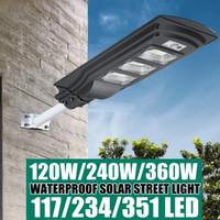120W / 240W / 360W Augienb Solar Wall Street Light Wireless Wasserdichte Beleuchtung PIR Bewegungssensor mit Fernbedienung für Parkplatz Garage Patio Garten Einfahrt - 117 LED