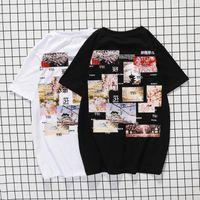 오프 스타일 흰색 새로운 일본어 인쇄 된 반팔 티셔츠 풀 오버 젊은 커플 하프