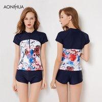 Trajes de una pieza Aonihua Two Piece Sport Swimsuits para las mujeres Cintura alta Shorts SHETSUIT Tamaño grande Buceo Baño Surf Sexy Femenina 9085