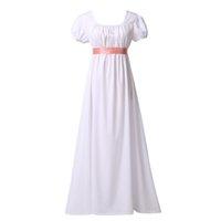 여성 리젠시 공 드레스 의상 화이트 / 그린 / 블루 빈티지 중세 긴 높은 허리 둘레 차 가운 드레스