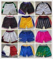 Männer Basketball Shorts Nur Don Pocket Retro Team genäht Justdon Hip Pop Hose mit Taschen Reißverschluss Jogginghosen Atmungsaktiv Mode Top Qualität Mann Größe S-XXXL