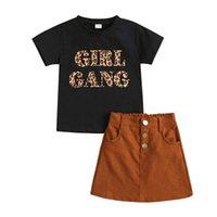 أطفال مجموعات ملابس الفتيات ملابس الطفل ملابس الطفل البدلة الصيف القطن قصير الأكمام ليوبارد القمصان التنانير 2 قطع 2-8y B4810