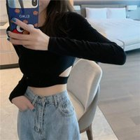 Women's T-Shirt 2021 Fashion Spring And Autumn Slim Tops Casual Sexy Short Simple Pure Color All-match T-shirts
