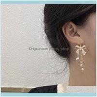 Charm Jewelryhigh Quality Luxury Sier Needle Japan Korea Sweet Bow Pearl Tassel Long Earrings Temperament Net Red Earclip 1661 Drop Delivery