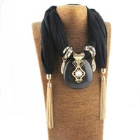 Ожерелья кулон Модный колот кисточкой шарф с женским ожерельем для женской модной ткани аксессуары