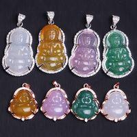 925 الفضة مطعمة العقيق الطبيعي قوانيين بوذا قلادة قلادة مجوهرات الاكسسوارات الأزياء المنحوتة المرأة الحظ تميمة