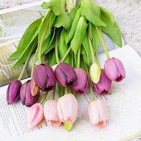 Guirnaldas de flores decorativas 5pcs / manojo táctil real suave silicona tulipanes artificiales flor para el hogar decoración de la boda fake bridal hand flore