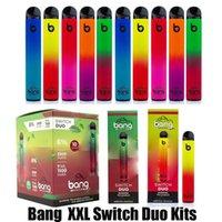 Bang XXL 스위치 듀오 일회용 전자 담배 장치 키트 2500 퍼프 1100mAh 배터리 7ml 미리 페드 포드 카트리지 2in1 스틱 vape 펜 대 바 플러스 xtra