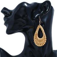 Rattan Hand Knit Cutout Teardrop Pendant Earrings All-match Women's Ornament Eardrop Bohemian Ethnic Exquisite Jewelry Dangle & Chandelier