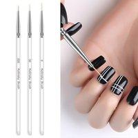 Nail Art Kits 3Pcs set Kolinsky Brush Crystal Acrylic Thin Liner Drawing Pen Painting Stripes Flower 2 Side Manicure Tools