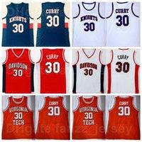 NCAA DAVIDSON Wildcats Stephen Curry College Jersey 30 كرة السلة المدرسة الثانوية Virginia Tech و Knights Red White Navy Blue Team Color University for Sport Gars