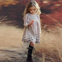 Girls Long Sleeves Check Dress 2021 Trend Spring Fall Kids Boutique Clothing Korean 3-10Y Big Children Cotton Tiered Gingham Dresses