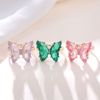 Opening High Grade Inlaid Zircon Butterfly Ring New Design Fashion Copper Jewelry Luxury Shiny Cocktail Party Ring for Women
