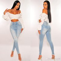 Famous designer ladies jeans high waist ripped hole all-match trousers Slim straight fashion comfortable S-XL size