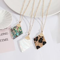 Necklace Pendant Geometric Shell Abalone Leopard Leather Long Fashion Trend Wholesale Jewelry For Women Party Sweater Chains Modern