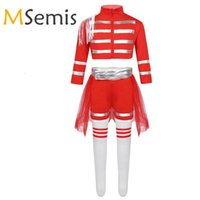 Miúdos Meninas Cheerleading School Uniforme Traje Cheerleading Chefe Crop Top com Shorts Skirt Skirt Socks Conjunto Cheerleader Traje