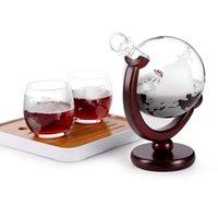 Trinken Whisky Globus Weinglas Set Segelboot Schädel in Kristall Whisky Carafe mit feinem Holzständer Alkohol Dekanter für Wodka