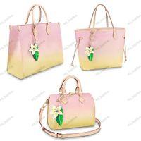 Neueste Stile Frauen Einkaufstasche Top Qualität an der Pool Kollektion Gradienten Pastell Speedy 25 Mode Onthego Handtaschen mit Reißverschluss Innere Taschenblume Dekoration
