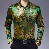 Plus Size Stretch Velvet Mens Shirts Summer Flowers For Green Gold Autumn Blouse Velour Clothing 2021 Long Slee