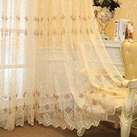 Tulle de broderie jaune beige pour salon rideau rideau de fenêtre rideaux chambres minces voile m072z