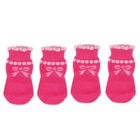 Dog Apparel Pet Puppy Bowknot Cotton Socks Anti-Slip Protectors 4pcs set M Pink
