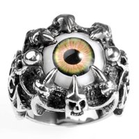 Stainless Steel Domineering Men's Jewelry Personality Six Claw Skull Eye Ring Ri0092{category}