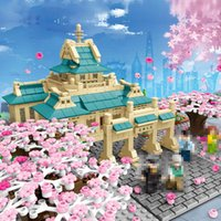 601079 China Wuhai University Cherry Blossom Cena Modelo Kits Building Blocks Tijolo com Luz Garden Tree Flower Brinquedo