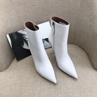 Amina Muaddi Giorgia white heeled Ankle boots Cubic stiletto heel pointed toes Side zipper leather outsole Booties for women luxury designer shoes factory footwear